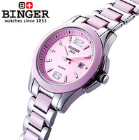 Women watch swiss watch stainless steel ladies pink watch ceramic band ceramic ring needle