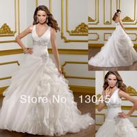 a-line ivory organza v neck beaded and sequin floor length ruffle wedding dress with crystal swarovski custom