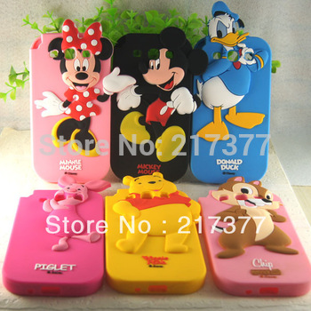 3D Cartoon BP Minnie Mickey Duck Winnie Pig Chipmunk Silicone Back Cover Case For Samsung Galaxy S III S3 I9300 Free Shipping