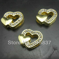 gold heart 50pcs 8mm Zinc alloy and rhinestone Slide Charms DIY accessory fit 8mm Belt Pet Collar Free Shipping