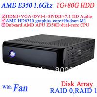mini pc windows with USB 3.0 SP/DIF DVI-I HDMI VGA dual display AMD APU E350D dual-core CPU 1G RAM 80G HDD windows or linux