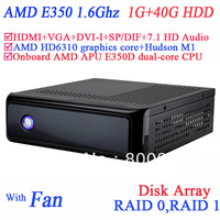 mini pcs with USB 3.0 SP/DIF DVI-I HDMI VGA dual display AMD APU E350D dual-core CPU 1G RAM 40G HDD windows or linux installed