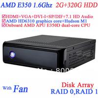 mini itx case htpc with AMD APU E350D dual-core CPU USB 3.0 SP/DIF DVI-I HDMI VGA dual display 2G RAM 320G HDD windows or linux
