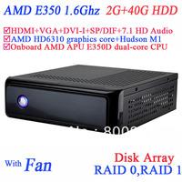mini pc for ubuntu with USB 3.0 SP/DIF DVI-I HDMI VGA dual display AMD APU E350D dual-core CPU 2G RAM 40G HDD windows or linux
