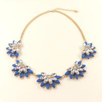 hot sales new 18k gold big blue zircon crystal bohemian style flower short choker necklace, wholesale European brand jewelry