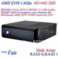 rdp thin client mini computer windows with AMD APU E350D dual-core CPU USB 3.0 SP/DIF DVI-I HDMI VGA dual display 4G RAM 64G SSD