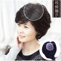 100% H HAIR  Female Toupee Stubbiness Real Hair Women's Hair 10X13cm