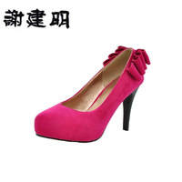 New arrival 2013 bow built-in nude color platform wedding shoes wedding shoes single shoes women's shoes
