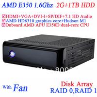 htpc mini server with AMD APU E350D dual-core CPU USB 3.0 SP/DIF DVI-I HDMI VGA dual display 2G RAM 1TB HDD windows or linux