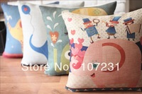 Colorful 45cm Square Vintage Retro Happy Elephant Linen Cushion Cover Home decor Zip Openner 4pcs/lot