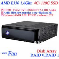 thin client hdmi small htpc windows with AMD APU E350D dual-core CPU USB 3.0 SP/DIF DVI-I HDMI VGA dual display 4G RAM 120G SSD