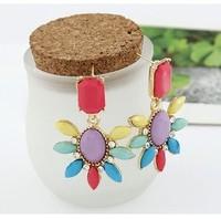 Min orde is $9 Fashion vintage gorgeous multicolour gem rose flower stud earring earrings EH121