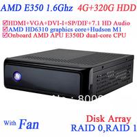 xbmc media box with AMD APU E350D dual-core CPU USB 3.0 SP/DIF DVI-I HDMI VGA dual display 4G RAM 320G HDD windows or linux