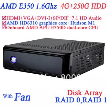 best linux thin client slim computer with AMD APU E350D dual-core CPU USB 3.0 SP/DIF DVI-I HDMI VGA dual display 4G RAM 250G HDD