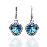 E261 Blue Heart18K Platinum Plated Earrings For Women Nickel Free K Golden Jewelry Plating Platinum Austrian Crystal SWA Element