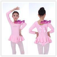 Child plus velvet thickening one piece open file gym suit performance wear dance dress