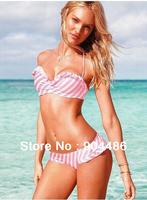 unlined style . falbala ornament, sexy sweet and lively bikini.Free shipping!