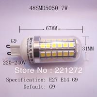 5Pcs/Lot SMD 5050 48 LED 200-240V LED Spot Light G9 Bulb Lamp 680LM Warm White Free Shipping