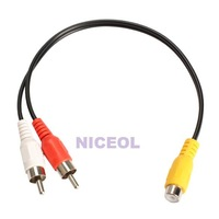NI5L RCA Female Jack to 2 RCA Male Plug Y Splitter Audio Video AV Adapter Cable