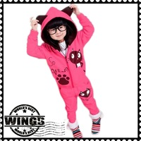Free shipping 2013 new style autumn girl suits hot sell girls princess sets baby suit girl wear kid cat style clothing