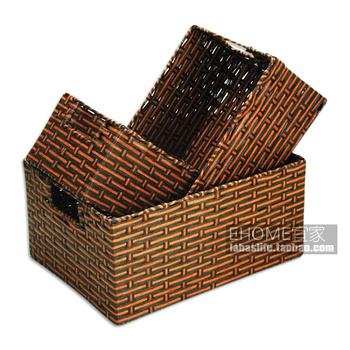 E cord straw braid rattan storage basket basketfuls set piece set piece set multicolor