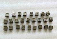 52PCS Antiqued bronze alphabet letter cube beads w/big hole #23485 FREE SHIPPING