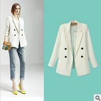 2013 Autumn New Design European Brand Women Kick Pleat On Back Double Breasted White Blazers,Ladies Fashion Casual Suit xf26