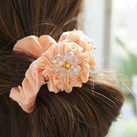 Free Shipping/  Korean version of the small crystal flower hair band rubber band hair jewelry