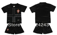 Hot sales 13/14 Portugal away black kids soccer football jerseys + shorts kits,children soccer shirt Youth Uniform,size:16-18