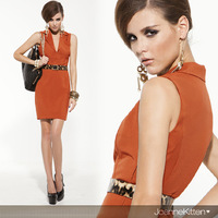 White-Collar Temperament And Agile Vest Sexy  Mini Dress With Turn-Down Collar Celebrity Dress Free Shipping.