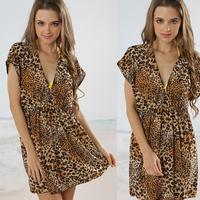 2013 new fashion Victoria's dress Fashion leopard print , beach wear beach dress , bikini outside shirt