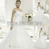 Sweetheart Wedding Gowns Zipper Closure Mermaid Dress Pleat Floral Applique Long Train Floor Length Bridal Gowns