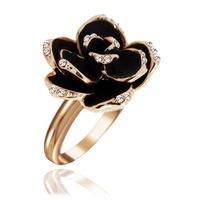 Fashion accessories new arrival black rose vintage 18kgp gold ring