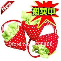 10pcs\lot,canvas triangle environmental protection strawberry convenient shopping bag(color send random)