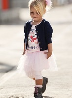 Baby sets 3 pcs set jacket+t shirt+skirt girl knitwear solid outwear cartoon letter tee shirts tulle skirt Kids casual clothing