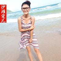2014 Stripe vest suspender skirt beach racerback dress beach skirt dress female big size loose
