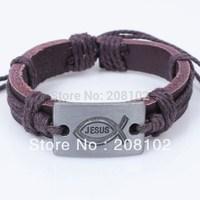 Fashion Leather Bracelet Alloy Men Bracelet Jewelry Christian Fish Jesus Bracelets Christmas Gifts Factory Wholesale