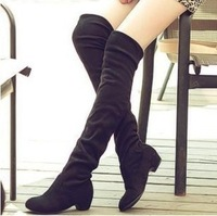 new 2014 winter flat boots for women's motorcycle boots suede knee high boots botas sapatos femininos sem salto em atacado