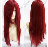 Free shipping Hot Sale Heat Resistant dark red long straight Cosplay party Wig