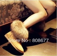 Best Selling 2012 Snow Boots Fox Fur Boots Ankle Winter Boots Women's Shoes Free Shipping Sexy Flats