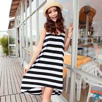 Free shipping new fashion Loose stripe tank dress sexy one-piece dress female beach dress 3