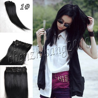 "Human Hair Extension   18"" 45cm 70g 7Pcs/Set Color #1 Jet  Black Clips in 100%  Real Human Hair Extension For Ladies"