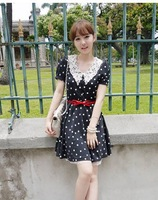 2013 free shipping New Arrival Hot Sale summer women Charming Style Flower Collar Dot Printed Dress Black LM12031407