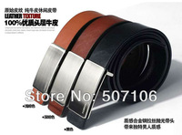 Free Shipping Fashion 2013 Newest Pure Color Cowskin Leather Texture Men's Belt Genuine Leather Belts For Men
