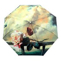 Free Shipping Rose Oil Painting Umbrella Romantic Folding Classic Anti-uv Sun/Rain Durable Automatic Umbrella