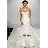 13W020 Beaded Strapless Organza  Mrmaid Court Train Gorgeous Luxury Unique Brilliant Bridal Wedding Dress Free Shipping