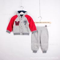 autumn 100% cotton Boy's 2piece suit set sport suit sets tracksuits Baby Clothing Sets hoody jackets +pants