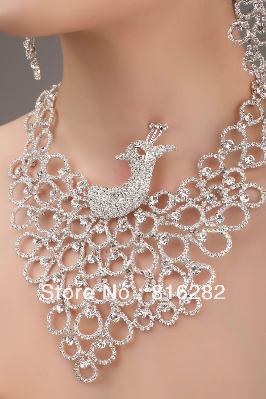 مجوهرات الزفاف حفل زفاف قلادة فضية مطل