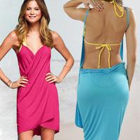 Free shipping 2014Victoria new fashion Solid color deep V-neck beach bikini dress multi-purpose spaghetti strap one-piece