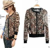 Hot-selling 2013 autumn black thread hemming cuff cool leopard print coat women's jackets ladies fashion coat